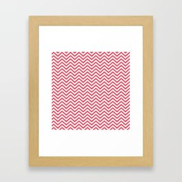 Antique White and Cherry Pink Chevron Stripes Framed Art Print