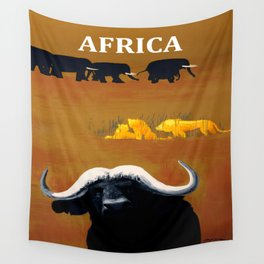 Vintage Africa Travel - Water Buffalo Wall Tapestry