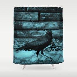 Blue Crow Shadows Shower Curtain