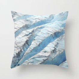 Don't Fall! Alaskan Glacier's Dangerous Blue Ice Crevasses Throw Pillow