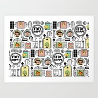 Pattern Stay Happy Animals Art Print