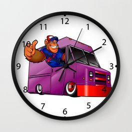 Cartoon illustration of a gorilla driving a van Wall Clock