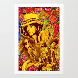 The Seventies 1970's Alice Cooper, Jackson, Springsteen, Aerosmith Art Print