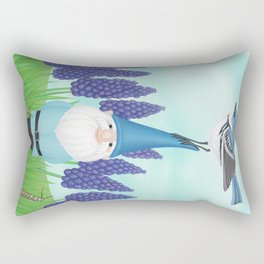 gnome with cerulean warbler and grape hyacinths Rectangular Pillow