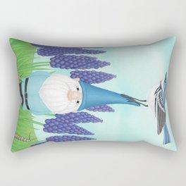 gnome with cerulean warbler and grape hyacinths Rectangular Pillow