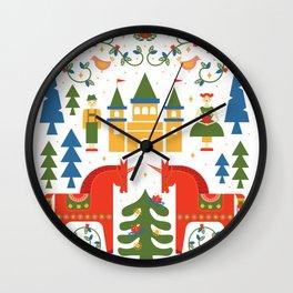 Scandinavian Folkstory - Red + Green Wall Clock