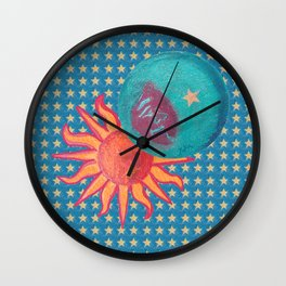 zakiaz sun moon stars Wall Clock