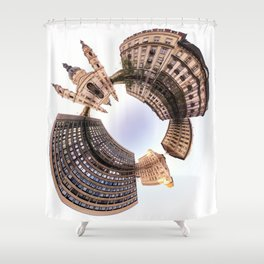 Holey planet with Basilica Shower Curtain