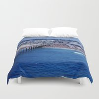 1984 Duvet Covers featuring O.P. Pro Surfing Contest H.B. Pier 1984 by John Lyman Photos
