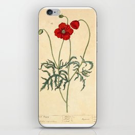 """Red Poppy by Elizabeth Blackwell from """"A Curious Herbal,"""" 1737 (benefits The Nature Conservancy) iPhone Skin"""