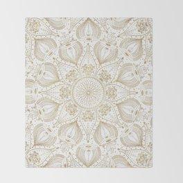 Boho Chic gold mandala design Throw Blanket