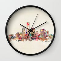 wisconsin Wall Clocks featuring milwaukee wisconsin  by bri.buckley