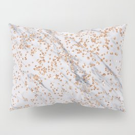 Rose gold diamond confetti on marble Pillow Sham