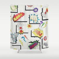 comic book Shower Curtains featuring Comic Book by michaelrosen
