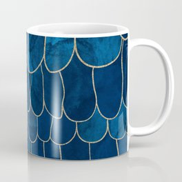 Stratosphere Sapphire // Abstract Blue Flowing Gradient Gold Foil Cloud Lining Water Color Decor Coffee Mug