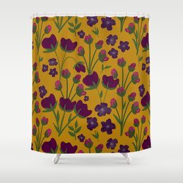 Purple and Gold Floral Seamless Illustration Shower Curtain