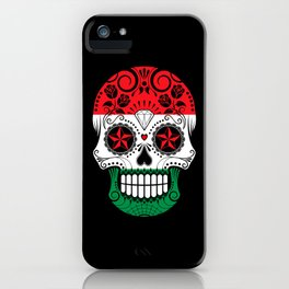 Sugar Skull with Roses and Flag of Hungary iPhone Case