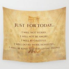 Reiki Principles - Reiki Precepts #5 Wall Tapestry