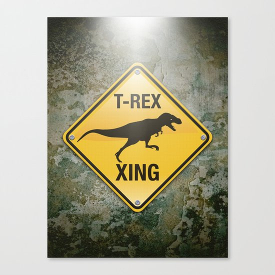 T-Rex Crossing Canvas Print