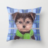 yorkie Throw Pillows featuring Yorkie Poo in Scarf  by KAZUMI