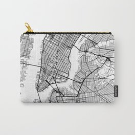 New York Map White Carry-All Pouch