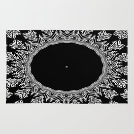 Feathers and Circles Kaleidoscope In Black and White Rug