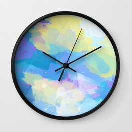 Colorful Abstract - blue, pattern, clouds, sky Wall Clock