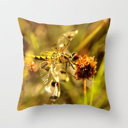 Black-tailed Skimmer Dragonfly Throw Pillow