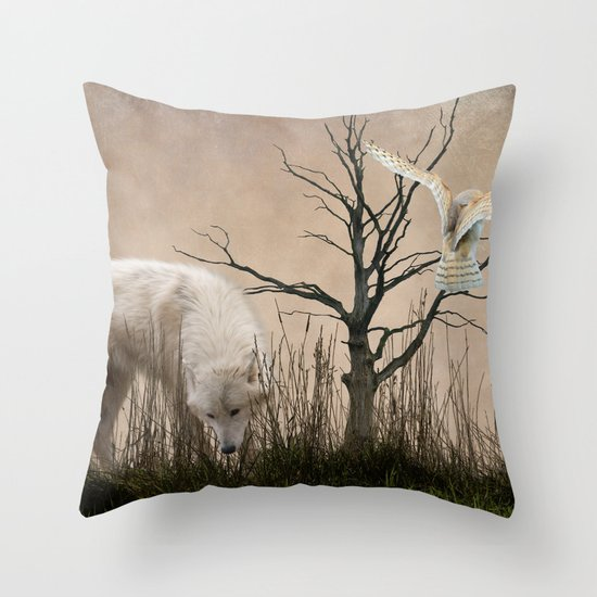 Woodland Wolf Throw Pillow