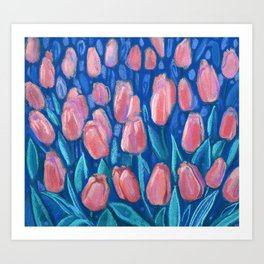 Tulips Field Floral Painting Spring Flowers Light Red Blue Art Print