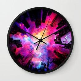 Abstract City Nebula Night Wall Clock