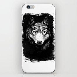 Grey Wolf Portrait, dark variant iPhone Skin