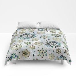 Festive Golden Abalone Shell Snowflake pattern Comforters