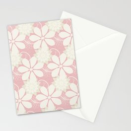 Summer Lace: a delicate lacy pattern in palest pinks with a touch of the lightest green Stationery Cards