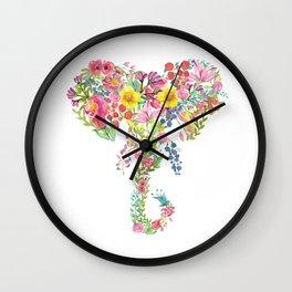 Flower Elephant Watercolor Wall Clock