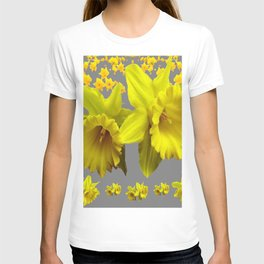 YELLOW DAFFODILS CHARCOAL GREY FLORAL T-shirt