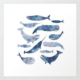 Whales, whale art, whale painting, whale wall art, watercolour whales, ocean Art Print