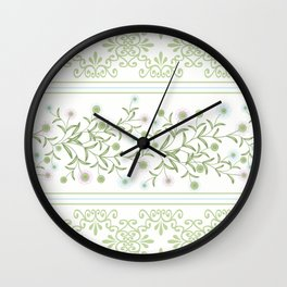 Delicate floral pattern with decorative bands. Wall Clock