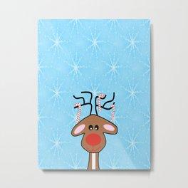 Snowflakes Reindeer Blue - Merry Christmas Metal Print