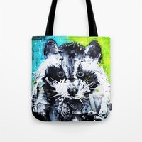 raccoon Tote Bags featuring RACCOON by Maioriz Home