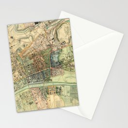 Map Of Glasgow 1828 Stationery Cards