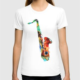 Colorful Saxophone By Sharon Cummings T-shirt
