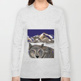 """""""Lone Wolf"""" Paulette Lust's Original, Contemporary, Whimsical, Colorful Art  Long Sleeve T-shirt"""