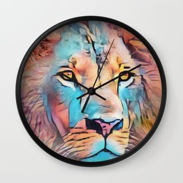 Colorful Lion Full Mane Surrounded by Flowers Wall Clock