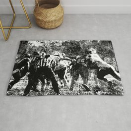 College Football Art, Black And White Rug