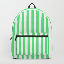 Algae Green and White Vertical Deck Chair Stripes Backpack