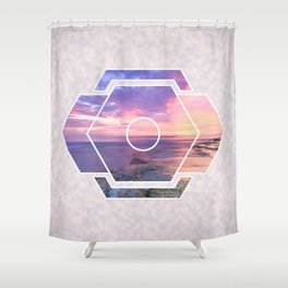 Purple Beach Sunset Futuristic Shape Shower Curtain