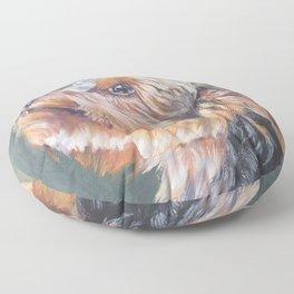 A realistic Yorkshire Terrier Portrait by L.A.Shepard fine art painting Floor Pillow