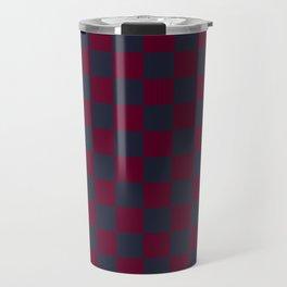 Dark Blue Dark Magenta Checks Travel Mug
