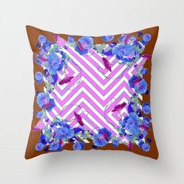 Geometric coffee brown & pink  Morning Glories Throw Pillow
